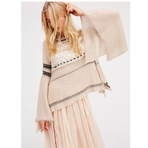 Free People Craft Time Cream Sweater Bell Sleeves
